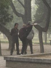 Ein alter Mann legt mal eben sein Bein auf einen Ast waehrend er plaudert