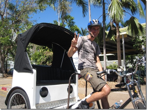 Bjoern driving the Pedicab