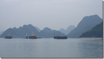 Foggy, mysterious Halong Bay