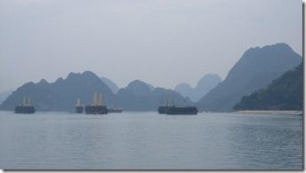 Foggy, mysterious Halong Bay