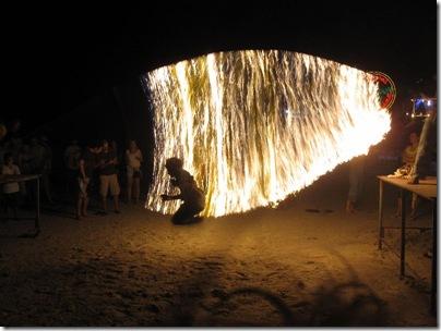 Corde à sauter enflammée