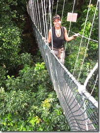 Maria on the Cannopy walkway in Taman Negare National parc