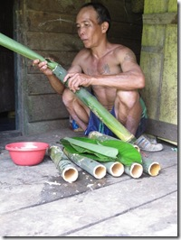 Our Iban host preparing the Bamboo Meal