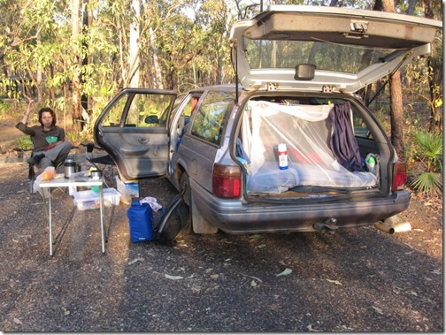 Camping in our car in Kakadu nationalpark