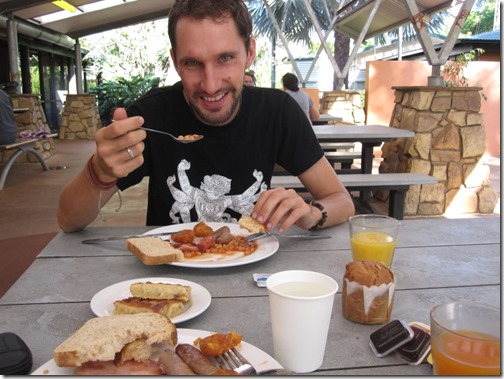 Free breakfast at the Gagudju Lodge Cooinda